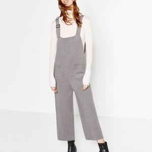 ZARA knit gray overalls jumpsuit